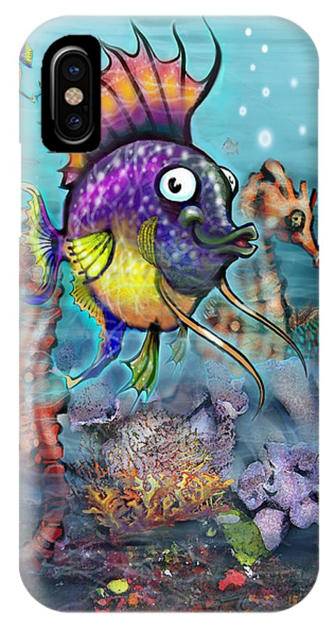 Aquarium IPhone X Case featuring the painting Aquarium by Kevin Middleton
