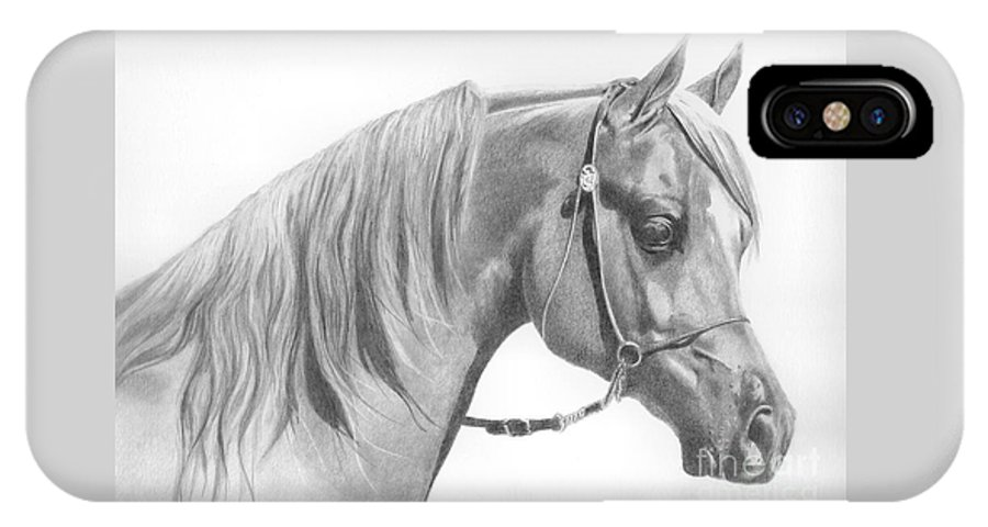 Horse IPhone X Case featuring the drawing Arabian 2 by Karen Townsend