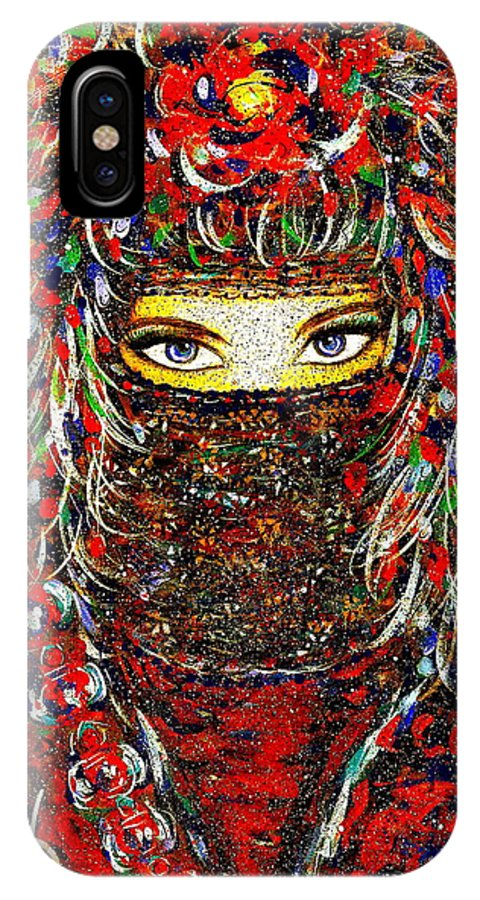 Woman IPhone Case featuring the painting Arabian Eyes by Natalie Holland