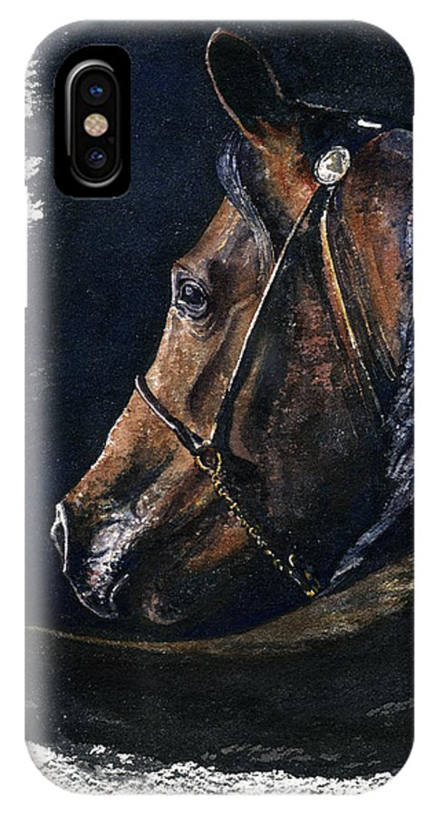Horse IPhone X Case featuring the painting Arabian by John D Benson