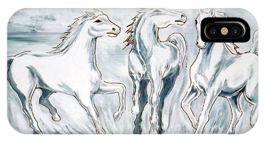 Horses IPhone Case featuring the painting Arabian Roots by Marco Morales