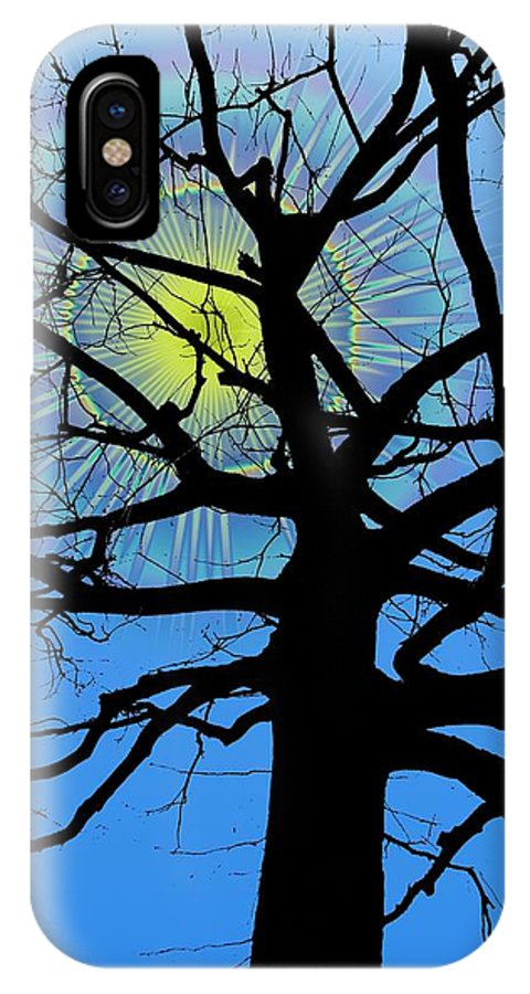 Tree IPhone X Case featuring the digital art Arboreal Sun by Tim Allen