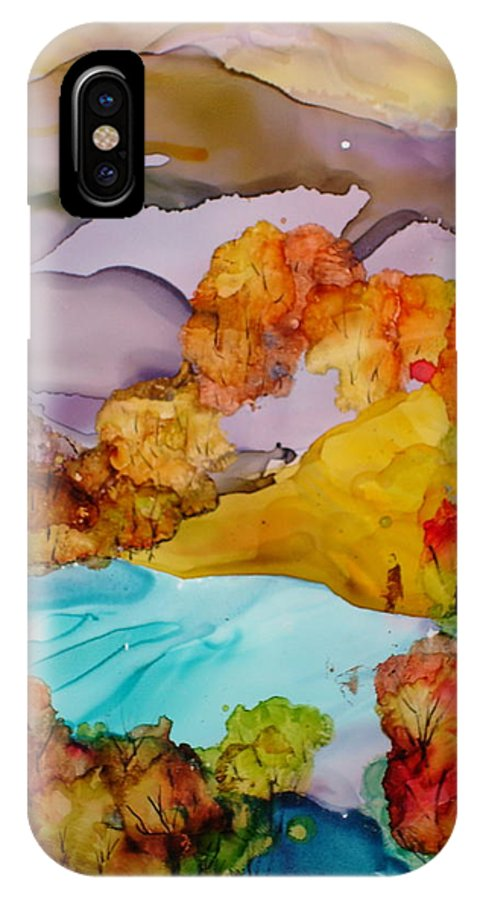 Fall IPhone Case featuring the mixed media Arcadia by Susan Kubes