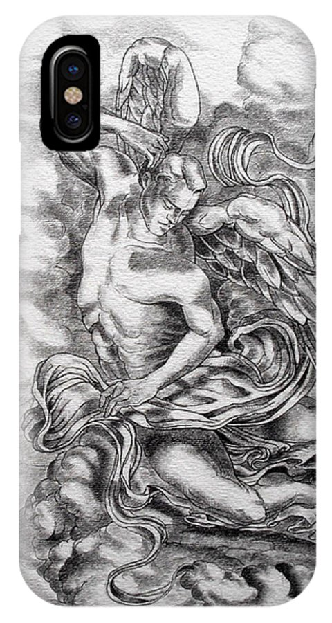 Angel Art IPhone X Case featuring the drawing Arch Angel by Gary Renegar