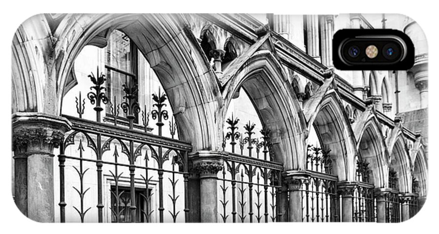 London IPhone X Case featuring the photograph Arches Front Of The Royal Courts Of Justice London by Shirley Mitchell