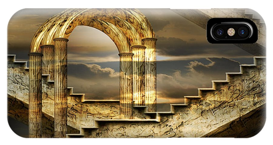 Arch Surrealism Clouds Collage Column Engraving Fantastic Golden Magic Marble Pillar Sky Stairs IPhone X / XS Case featuring the photograph Arches Of Possibility by Desislava Draganova