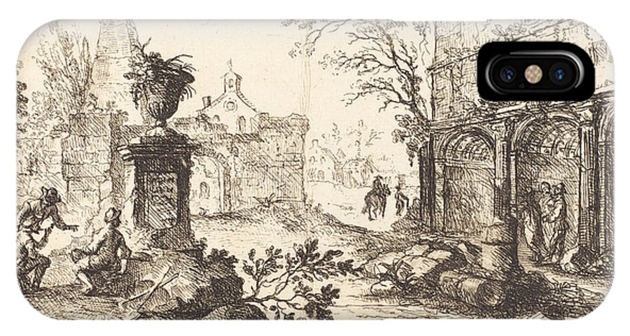 IPhone X Case featuring the drawing Architectural Fantasy With Roman Ruins by Joseph Stephan