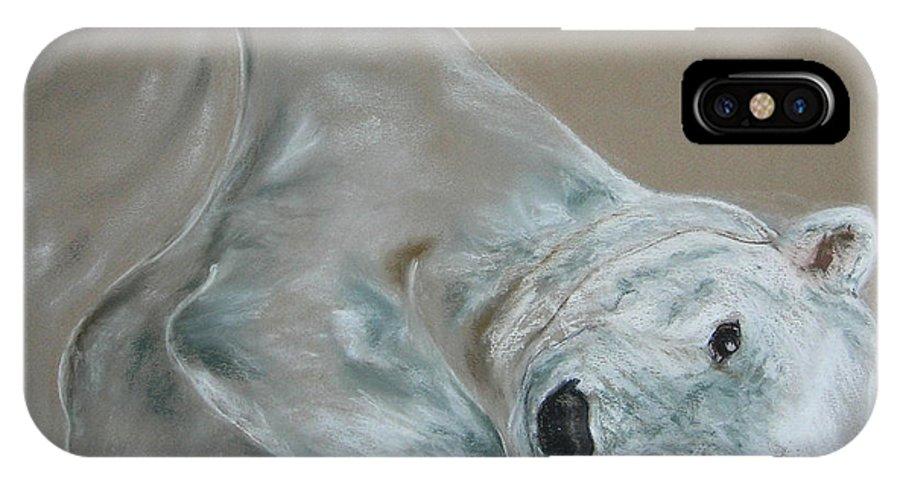 Polar Bear IPhone X Case featuring the drawing Arctic Frolic by Cori Solomon