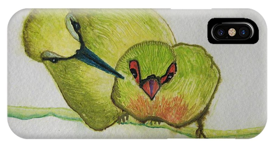 Birds IPhone X Case featuring the painting Are You Alright by Patricia Arroyo