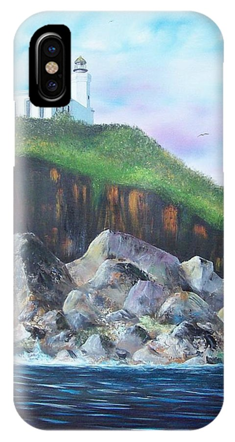 Arecibo Lighthouse IPhone X Case featuring the painting Arecibo Lighthouse by Tony Rodriguez