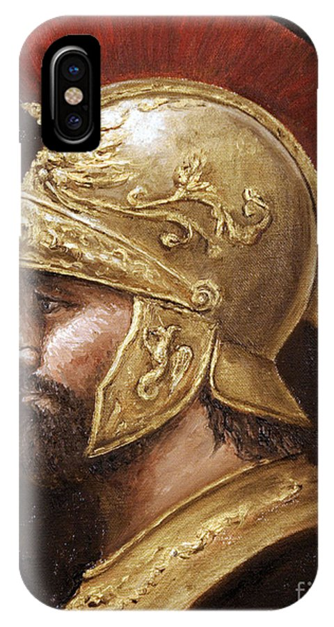 Warrior IPhone X Case featuring the painting Ares by Arturas Slapsys