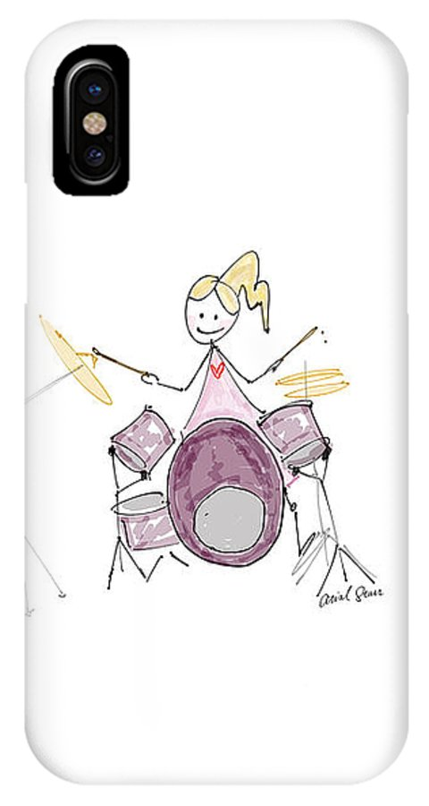 Jazz IPhone X Case featuring the digital art Arial Plays The Drums by Arial Starr