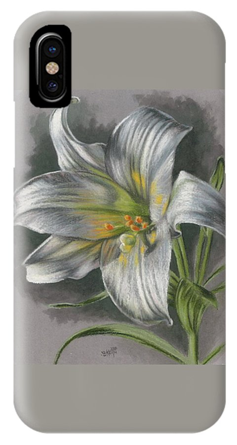 Easter Lily IPhone X Case featuring the mixed media Arise by Barbara Keith