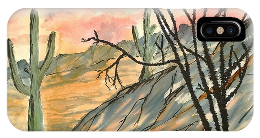 Drawing IPhone X Case featuring the painting Arizona Evening Southwestern landscape painting poster print by Derek Mccrea