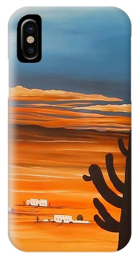 Arizona IPhone X Case featuring the painting Arizona Sunset by Carol Sabo