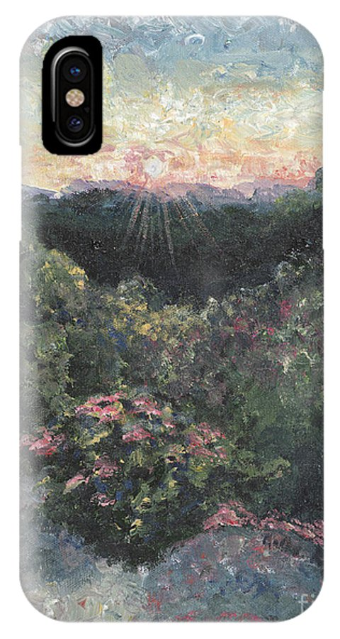 Landscape IPhone Case featuring the painting Arkansas Mountain Sunset by Nadine Rippelmeyer
