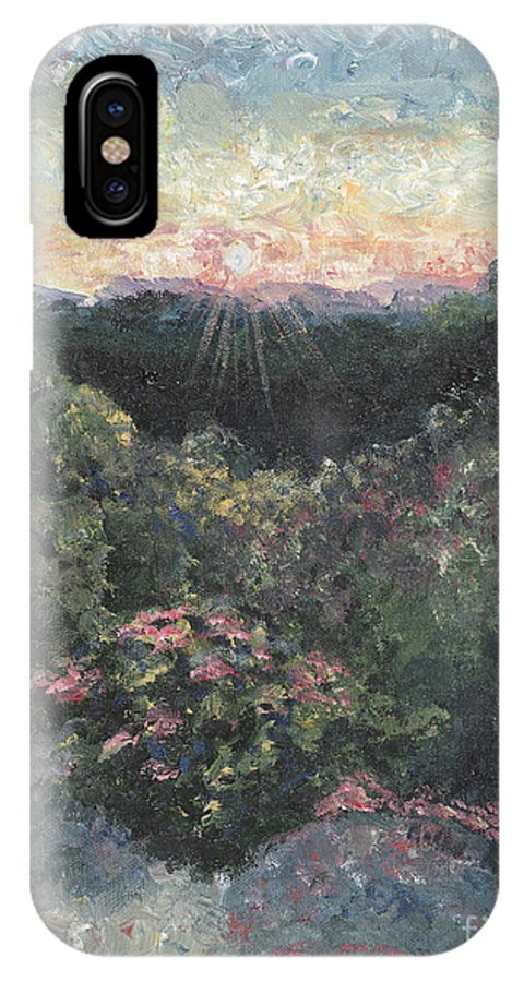Landscape IPhone X / XS Case featuring the painting Arkansas Mountain Sunset by Nadine Rippelmeyer