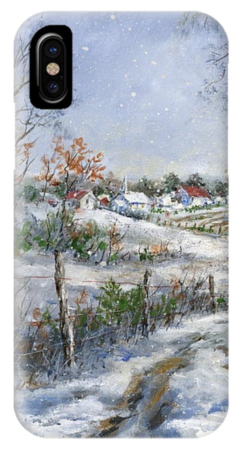 Snowfall IPhone X Case featuring the painting Around The Bend Sold by Virginia Potter