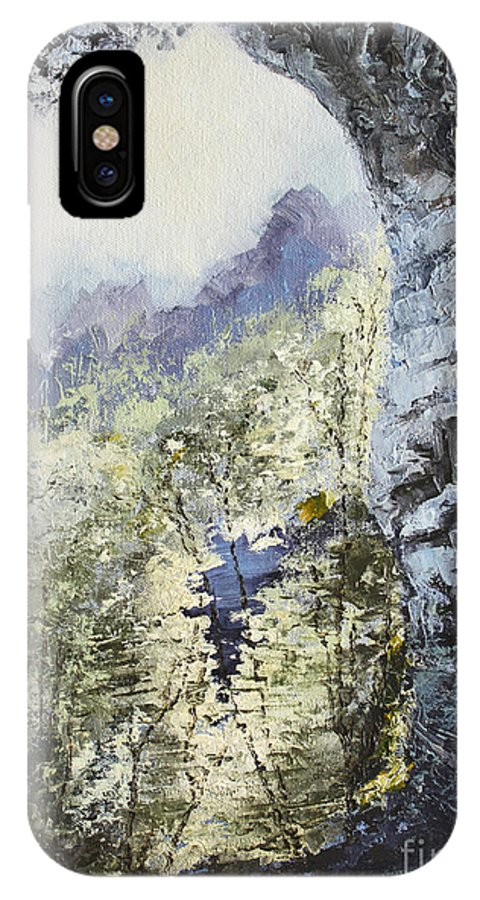 Landscape IPhone X Case featuring the painting Around The Bend by Todd Blanchard