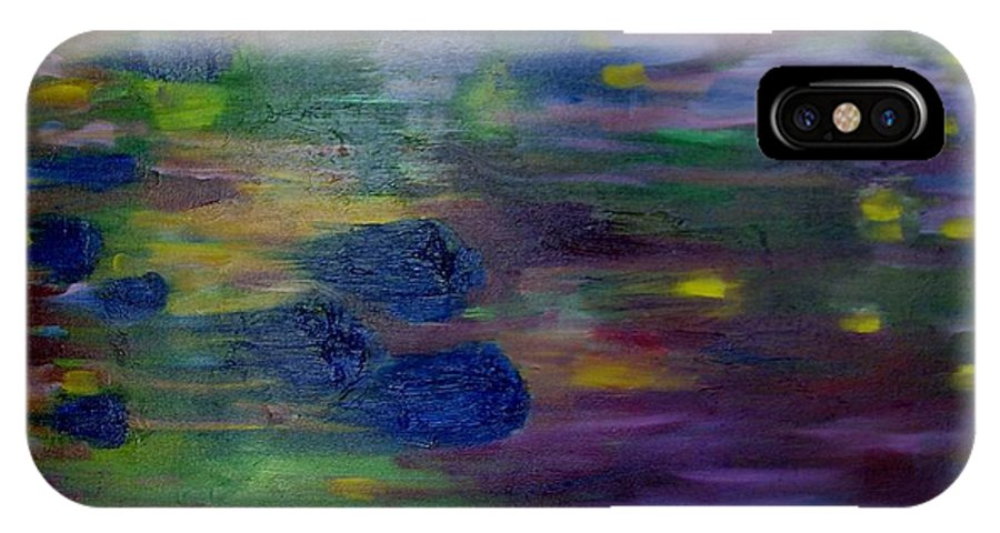Abstract IPhone Case featuring the painting Around The Worlds by Laurie Morgan