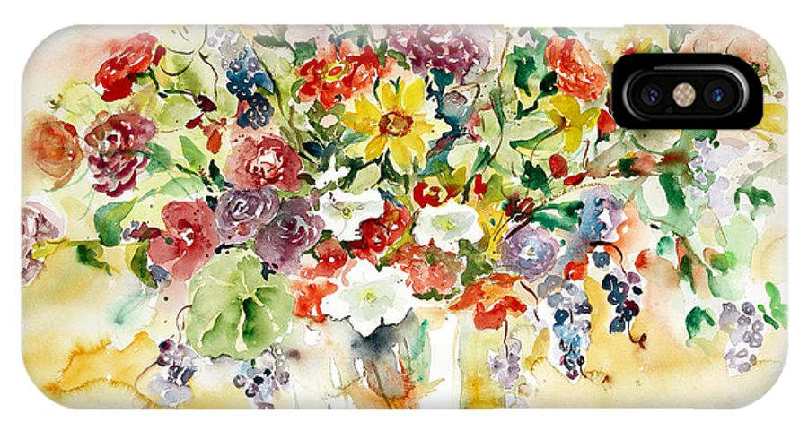 Watercolor IPhone X / XS Case featuring the painting Arrangement IIi by Ingrid Dohm
