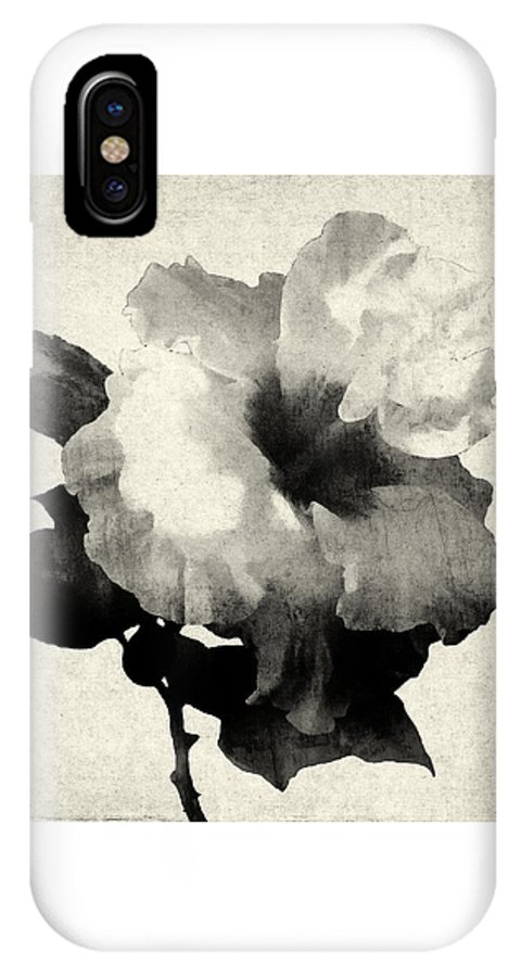 Hibiscus IPhone X Case featuring the mixed media Art Is The Hibiscus -black And White by Stacey Chiew