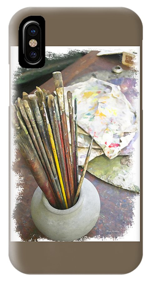 Artist IPhone X Case featuring the photograph Artist Brushes by Margie Wildblood