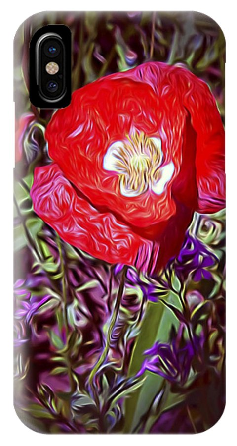 Flowers IPhone X Case featuring the photograph Artistic Kentucky Red Poppy by Linda Phelps