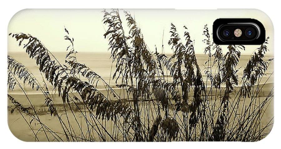 Sepia IPhone X Case featuring the photograph Artistic - Sea - Oats by D Hackett