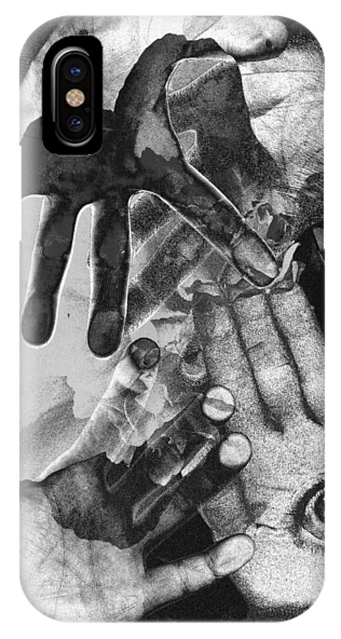 Hands IPhone X Case featuring the photograph Artist's Hands by Nancy Mueller