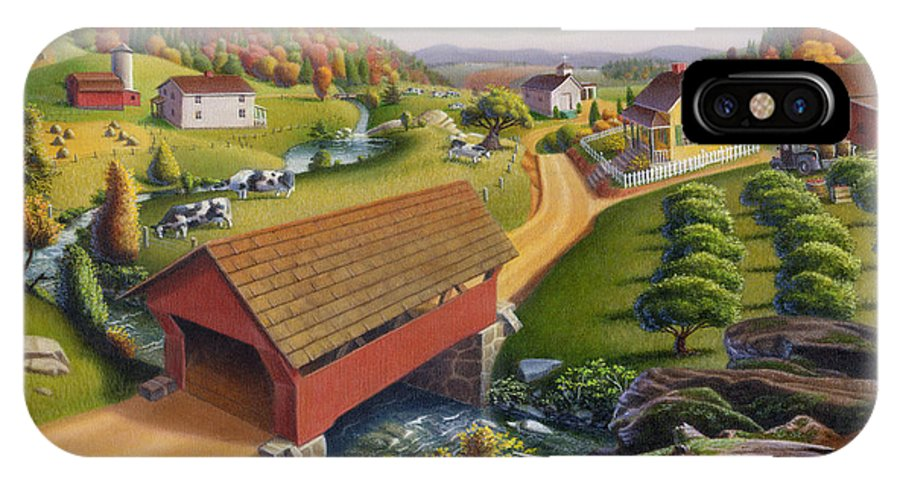 Covered Bridge IPhone X Case featuring the painting Folk Art Covered Bridge Appalachian Country Farm Summer Landscape - Appalachia - Rural Americana by Walt Curlee