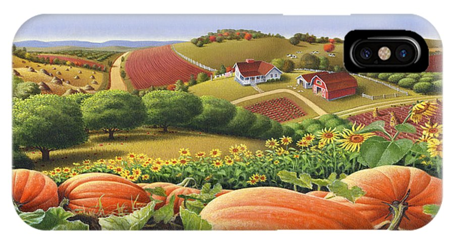 Pumpkin IPhone X Case featuring the painting Farm Landscape - Autumn Rural Country Pumpkins Folk Art - Appalachian Americana - Fall Pumpkin Patch by Walt Curlee