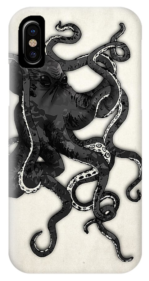 Sea IPhone X Case featuring the digital art Octopus by Nicklas Gustafsson