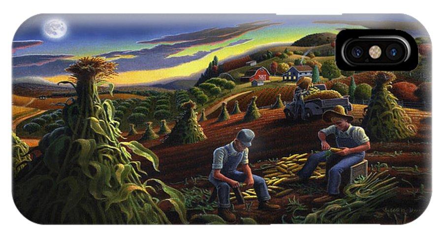 Autumn IPhone X Case featuring the painting Autumn Farmers Shucking Corn Appalachian Rural Farm Country Harvesting Landscape - Harvest Folk Art by Walt Curlee