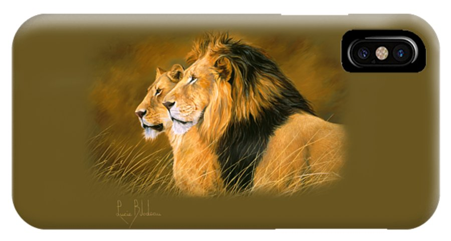 Lion IPhone X Case featuring the painting Side By Side by Lucie Bilodeau