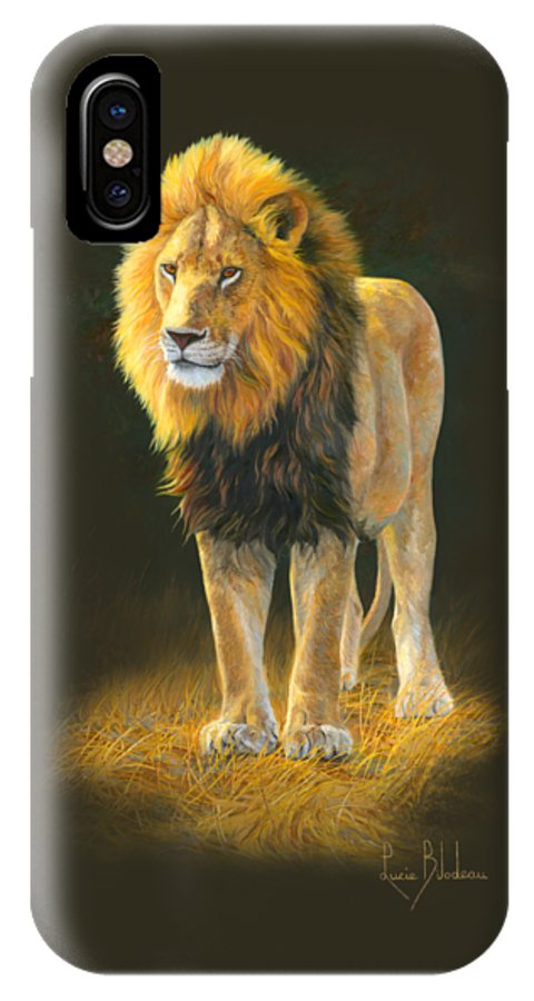 Lion IPhone X Case featuring the painting In His Prime by Lucie Bilodeau