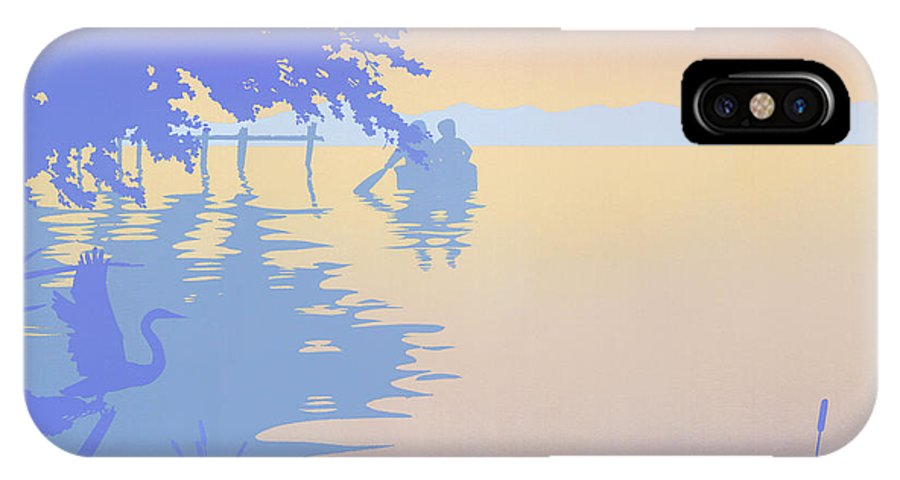 Abstract IPhone X Case featuring the painting abstract tropical boat Dock Sunset large pop art nouveau retro 1980s florida landscape seascape by Walt Curlee