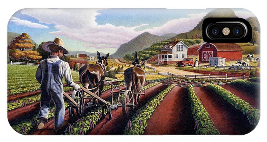 Appalachian IPhone X Case featuring the painting Appalachian Folk Art Summer Farmer Cultivating Peas Farm Farming Landscape Appalachia Americana by Walt Curlee