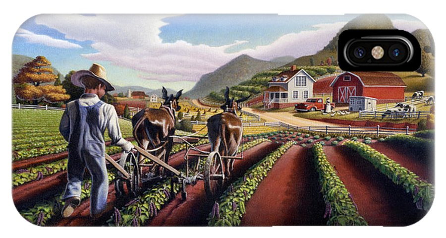 Appalachian IPhone X Case featuring the painting Appalachian Folk Art Summer Farmer Cultivating Peas Farm Farming Landscape Appalachia Americana by Walt Curlee