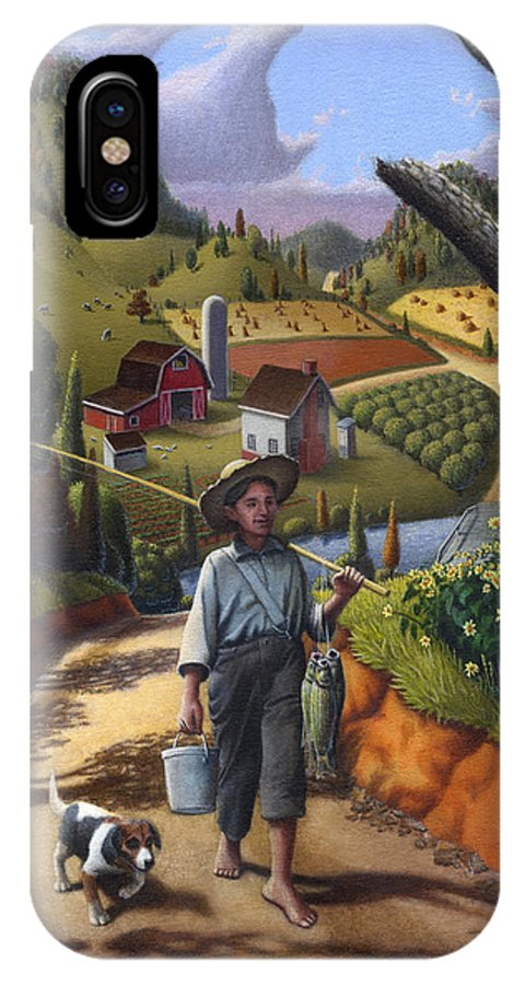 Boy And Dog IPhone X Case featuring the painting Boy And Dog Farm Landscape - Flashback - Childhood Memories - Americana - Painting - Walt Curlee by Walt Curlee