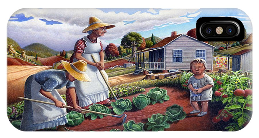 Farm Family IPhone X Case featuring the painting Family Vegetable Garden Farm Landscape - Gardening - Childhood Memories - Flashback - Homestead by Walt Curlee