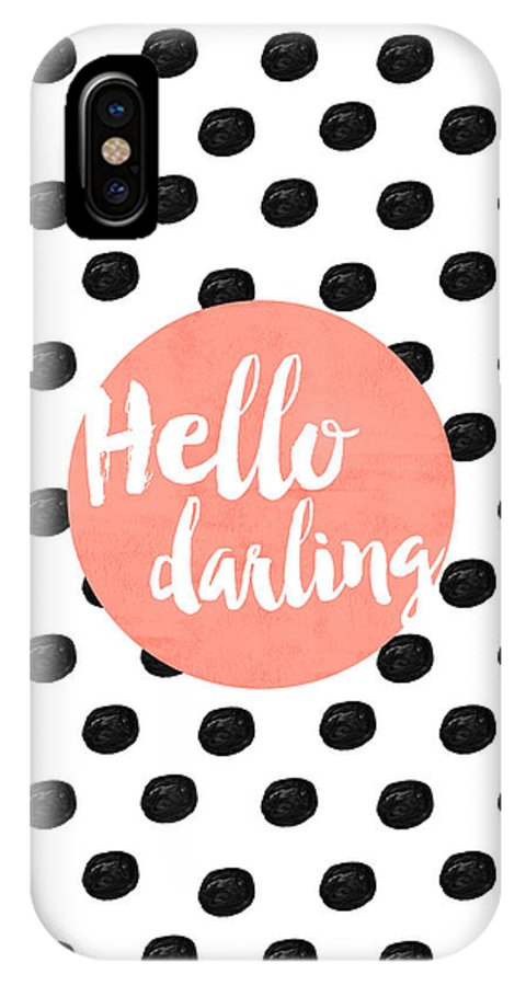 Hello Darling Coral And Dots IPhone X Case featuring the digital art Hello Darling Coral And Dots by Allyson Johnson