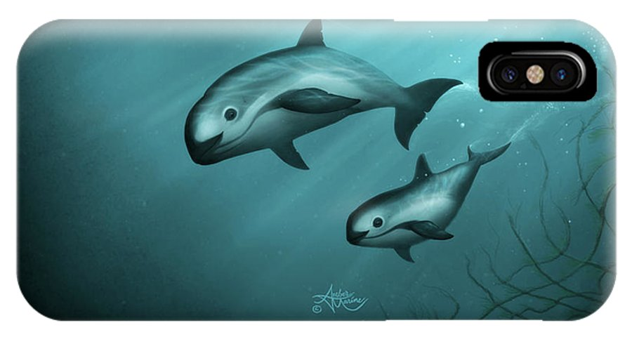 Vaquita IPhone X Case featuring the painting Treacherous Waters Vaquita Porpoise by Amber Marine
