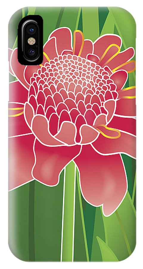 Tropical IPhone X / XS Case featuring the digital art Tropical Flower by Monica Hudson