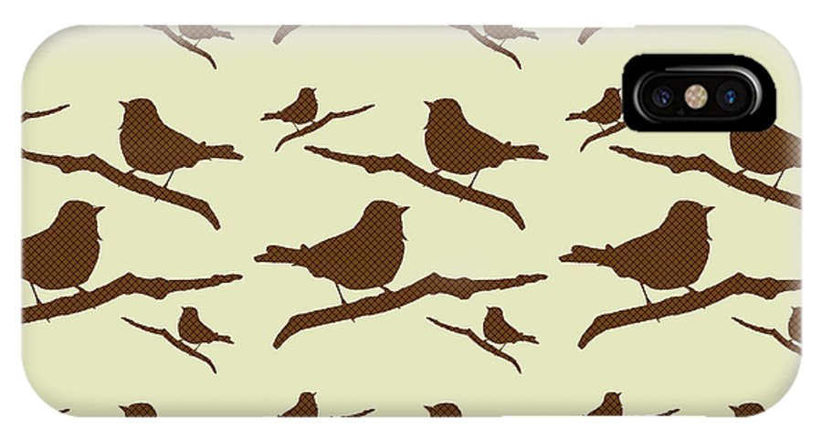 Bird Silhouette IPhone X Case featuring the mixed media Brown Bird Silhouette Modern Bird Art by Christina Rollo
