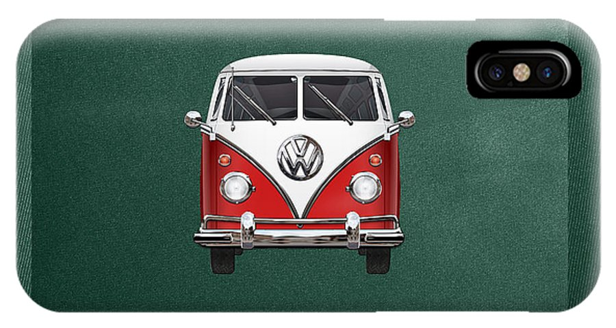 'volkswagen Type 2' Collection By Serge Averbukh IPhone X Case featuring the photograph Volkswagen Type 2 - Red And White Volkswagen T 1 Samba Bus Over Green Canvas by Serge Averbukh