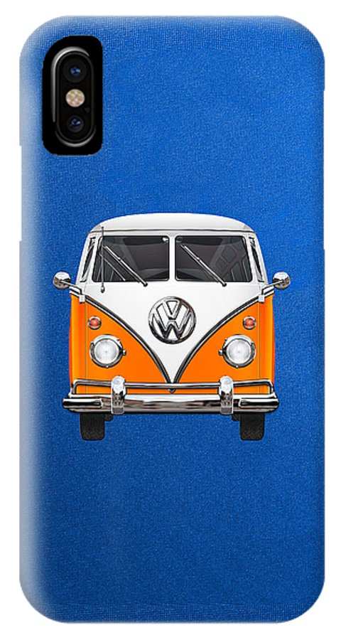'volkswagen Type 2' Collection By Serge Averbukh IPhone X Case featuring the photograph Volkswagen Type - Orange And White Volkswagen T 1 Samba Bus Over Blue Canvas by Serge Averbukh