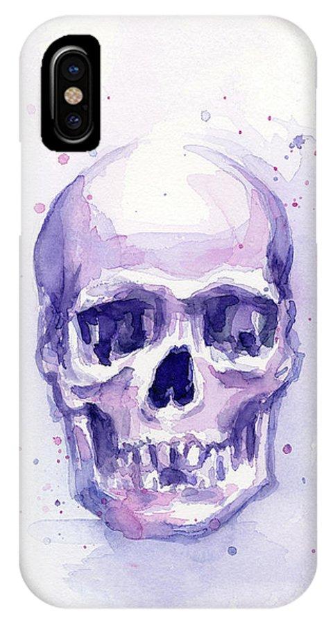 Purple IPhone X Case featuring the painting Purple Skull by Olga Shvartsur