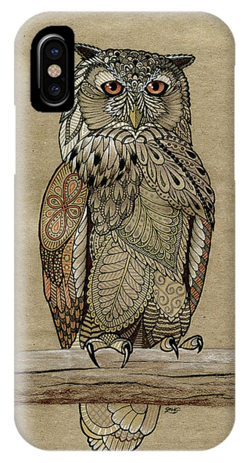 Zentangle IPhone X Case featuring the drawing Paper Bag Owl by ZH Field
