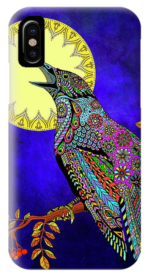 Crow IPhone X Case featuring the drawing Electric Crow by Tammy Wetzel